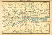 LONDON. Index map of London. Railways. BARTHOLOMEW 1925 old vintage chart