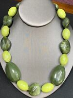 """Vintage Lucite Imitation Stone Jade Beaded Necklace 18"""" Shades Of Green"""