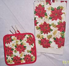 HOT POT HOLDER + HAND TOWEL SPARKLING RED POINSETTIAS : 2PC: KITCHEN-CHRISTMAS