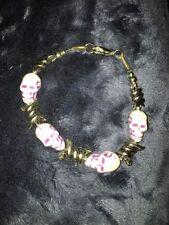 Mens Stainless Steel Purple Skull Bracelet
