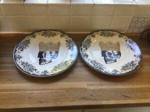 Royal Stafford Skulls King Dinner PlatesX2.NEW.Halloween.