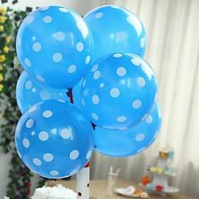 """25 Royal Blue with White 12"""" Latex Balloons with Polka Dots Wedding Decorations"""