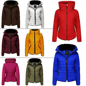 Womens Quilted Padded Puffer Bubble Hooded Jacket Ladies Hoody Warm Winter Coat