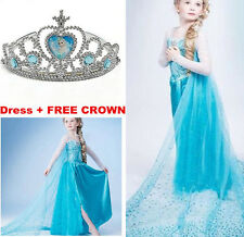 Kid Girl Costume Elsa Anna Cosplay Party Princess Halloween Fancy Birthday Dress