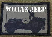 WWII Willys Jeep Morale Patch Military Tactical Army Flag USA Hook Badge Garand