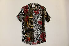 "Zebra Red Flower Gold Chain Shirt Designer Brand ""Reason"" Mens Size Small Shirt"