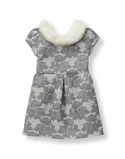 "NWT Janie & Jack Faux Fur Collar Gray Jaquard Dress ""Winter Waltz"" - MSRP $109"