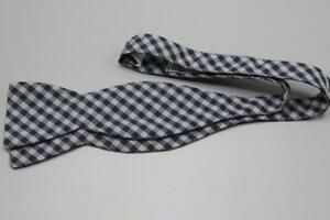 HOLLAND SHERRY Bespoke Adjustable Cotton Bow Tie. Blue Gray Plaid.