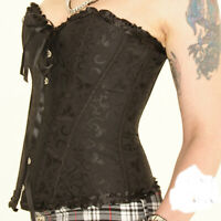 BLACK EMBOSSED BASQUE CORSET SIZE 6-16  FANCY DRESS BURLESQUE ALTERNATIVE GOTH