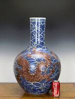 Superb Chinese Qing Yongzheng MK Underglaze Dragon Blue and White Porcelain Vase