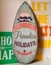 Blue Surfboard Wooden Sign Summer Tropical 57cm Wall Hanging Distressed Beach
