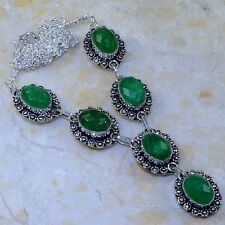 "Handmade Green Emerald Gemstone 925 Sterling Silver Necklace 19"" #K64527"