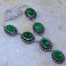 "Handmade Green Emerald Gemstone 925 Sterling Silver Necklace 19"" #K64527"