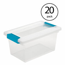 Sterilite Medium Clip Box Clear Home Storage Tote Container with Lid (20 Pack)