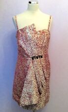 MONSOON ROSE PINK & PALE GOLD PLEATED FRONT STRAPLESS/STRAPPY DRESS SIZE 18