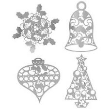 Karen Foster #02322 Christmas Time Thin-ments Silver Christmas Brads Snowflake