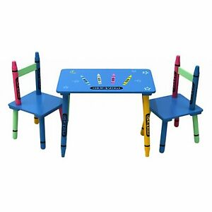 Kids Table and 2 Chairs Set Wooden Children Play Indoor Furniture Playcorner UK