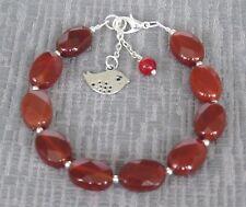 "7.5"" Semi Precious Stone Carnelian Bracelet"