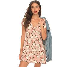 Motel Women's Tahnee Daisy Print Dress, Pink/Daisy Ribbon, Medium
