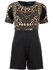 Celebrity Designer Size 12 Black Gold Beaded Sequin PLAYSUIT Evening Party £90