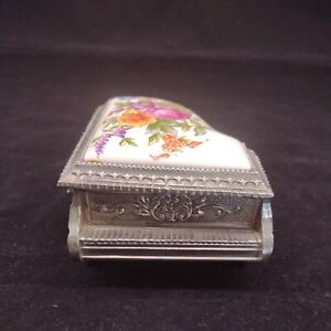 Vintage Silver Plated Piano Trinket Box Ceramic Inlaid Lid Made in Japan