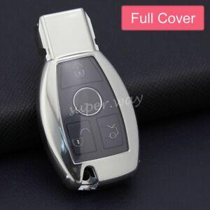 For Mercedes-Benz GLA/GLC/GLE/GLK/GLS/SLK Silver Car Smart Key Case Full Cover