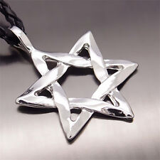 "New Fashion Men's Silver Star Of David Pewter Pendant with 20"" Choker Necklace"