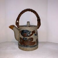 "Japanese Stoneware Teapot Wooden Handle ""Happu"" Folkware Design Blue Brown"