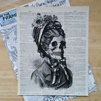 VICTORIAN LADY ANATOMICAL PRINT on antique dictionary book page Skull Vintage