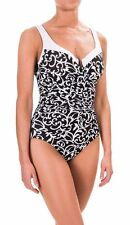 NWT New MIRACLESUIT Escape Scroll Lock Underwire Tank Swimsuit Black & White 12