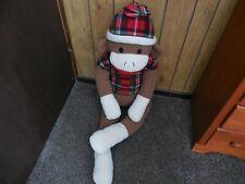 "Dan Dee Collectors choice Jumbo Sock Monkey 48"" Red Flannel Plaid Shirt & hat"