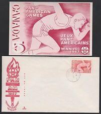Canada 1967 Pan-Am Games cover & card. Clover Bar clsd