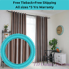 Coffee Cuccino Brown Silver Ds Sheer Eyelet Blackout Blockout Curtains