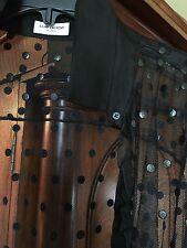 SAINT LAURENT black sheer $1750 blouse FR40, US 8 designer polka dot w ruffles