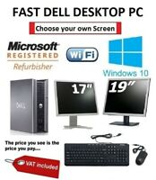 "Fast Dell Desktop PC Computer  17"" or 19"" Monitor WiFi Windows 10 Warranty"