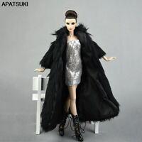 Doll Accessories Set Fur Black Coat & Silver Dress Fashion Clothes For 1/6 Dolls