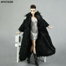Doll Accessories Set Fur Black Coat & Silver Dress Fashion Clothes For 1/6 Dolls