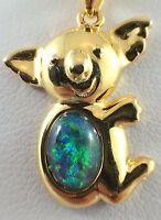 Australian Koala Triplet Opal Necklace Pendant / Twice 18ct Gold Plated Souvenir