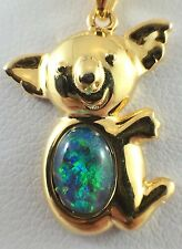 Australian Koala Triplet Opal Necklace Pendant / Twice 18ct Gold Plated Souvenir