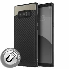 Samsung Galaxy S8 Magnetic Back-Plate Carbon Fiber TPU Rubber Case Black