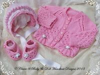 "BABYDOLL HANDKNIT DESIGNS KNITTING PATTERN 'IT'S A GIRL' 14-22"" DOLL/0-3M BABY"