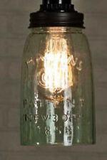 Industrial Pendant Light Lamp VIntage Rustic One Quart Mason Jar Open Bottom RB
