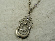 Silvertone Abstract Viking Ship Pendant Necklace (B25)