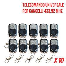 10X TELECOMANDO RADIOCOMANDO UNIVERSALE 4 CANALI CANCELLO GARAGE A 433.92 NUOVI