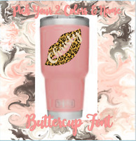 Monogram Vinyl Decal , Sticker, Lips Design And Name ,For Tumblers, Cups,