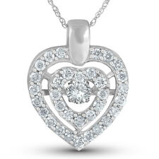 .87ct Diamond Dancing Heart Shape Pendant White Gold Rhythm In Motion Necklace