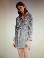 EXPRESS Gray White Stripe SIZE S Cotton SURPLICE WRAP DRESS LS Pockets NEW $80