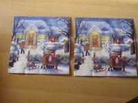 2 Servietten/Napkins, Wintertag mit Kindern, Weihnachten -Schneemann - NEU !!!