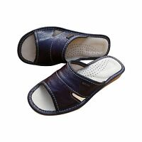 Womens Leather Slippers Slip On Comfort Sandals Ladies Cherry Brown Mules Size