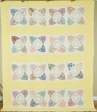 BEAUTIFUL Vintage 30's Butterfly Applique Antique Quilt, NICE YELLOW BACKGROUND!
